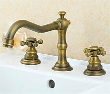 Alle Kupfer antik Hahn 3 - Loch Waschtisch Armatur mit heißen und kalten Wasserhahn im Waschbecken wasserhahn Griff, Badezimmer Hahn i