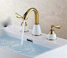 Alle Kupfer antik Hahn 3 - Loch Waschtisch Armatur mit heißen und kalten Wasserhahn im Waschbecken wasserhahn Griff, Badezimmer Armatur f