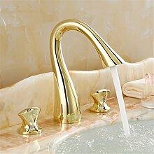 Alle Kupfer Waschbecken Wasserhahn heißen und kalten Wasserhahn Europa-WC-Armatur 3-Loch Armatur