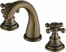 Alle Kupfer Waschtisch Armatur Wasserhahn Bad im europäischen Stil mit antiken 3-teilig Gold 3-Loch heißen und kalten Wasserhahn