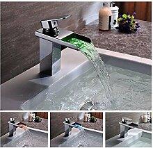 Alle Kupfer Wasserfall Armatur Waschbecken Led Wasserhahn Einloch Waschbecken Waschbecken Mit Warmen Und Kaltem Wasser