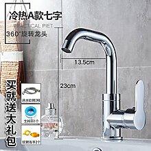 Alle LongZI Kupfer heiße und kalte Dusche Waschbecken Armaturen WC im Badezimmer Waschtisch Armatur, heiß und kalt ein 7+ heiße und kalte Rohr