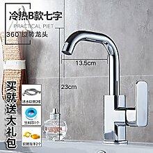 Alle LongZI Kupfer heiße und kalte Dusche Waschbecken Armaturen WC im Badezimmer Waschtisch Armatur, heiße und kalte B7 + warmes und kaltes Rohr