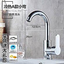 Alle LongZI Kupfer heiße und kalte Dusche Waschbecken Armaturen WC im Badezimmer Waschtisch Armatur, heiß und kalt ein kleines + warmes und kaltes Rohrbogen