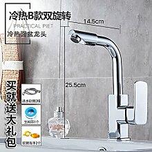 Alle LongZI Kupfer heiße und kalte Dusche Waschbecken Armaturen WC im Badezimmer Waschtisch Armatur, heiße und kalte B Double Schwenken + warmes und kaltes Rohr
