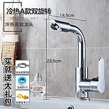 Alle LongZI Kupfer heiße und kalte Dusche Waschbecken Armaturen WC im Badezimmer Waschtisch Armatur, heiß und kalt ein doppeltes Schwenken + warmes und kaltes Rohr