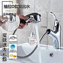Alle LongZI Kupfer heiße und kalte Dusche Waschbecken Armaturen WC im Badezimmer Waschtisch Armatur, zog aus dem Wasser 2-D+ heiße und kalte Rohr