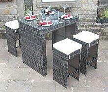 Alle Wetter braun Rattan Outdoor Gartenmöbel 5-teiliges Bar-Se