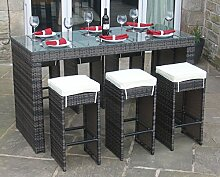 Alle Wetter braun Rattan Outdoor Gartenmöbel 7-teiliges Bar-Se