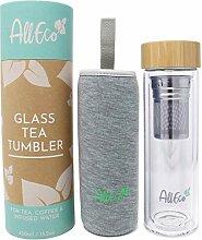 AllEco® Teeflasche mit Sieb to go 450ml Glas