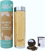 AllEco® Teeflasche mit Sieb to go 500ml Bambus