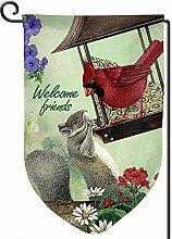 AllenPrint Seasonal Garden Flag,Kardinal Vogel Und