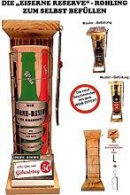 Alles Gute zum 50 Geburtstag - Eiserne Rerserve - ROHLING - ZUM SELBST BEFÜLLEN - incl. Bügelsäge zum aufschneiden des Metallgitters - Das ausgefallenes witziges originelles lustiges Geschenk Geschenkset Flaschenkorb - Die Top Geschenkidee mit dem WOW Effek