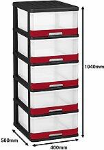 Allibert 228557Hercule Aufbewahrungsschrank mit 5Schubladen schwarz/rot Kunststoff 50x 40x 104cm, 25l