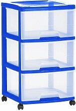 Allibert Eify 211826 Schrank, 3 Schubladen, 20l, Polypropylen, Blau