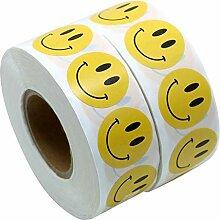 Allinlove 1000 Stück 1 Zoll Roll-in Gelb Smiley