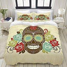 ALLMILL Bedding Bettwäsche-Set,Schädel und
