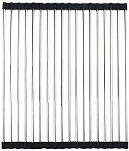 AllSpes Rutschfeste Rollmatte Abtropf Auflage Edelstahl Abtropfschale Spülenmatte Geschirrablage über dem Waschbecken Kitchen Dish Drainer Rack Edelstahl Teller Wschetrockner Schwarz,47 x 35 cm
