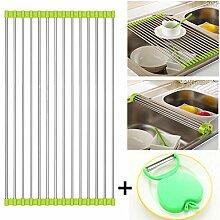 AllSpes über dem Waschbecken Kitchen Dish Drainer Rack Edelstahl Teller Wschetrockner Rollmatte Abtropf Auflage Edelstahl Abtropfschale Spülenmatte Geschirrablage Grün,37 x 23 cm
