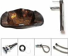 AllureFeng 12L Bad Glaswaschbecken + Kupfer Wasserhahn gesetzt kreative Kunst Jahrgang über Zähler Becken , Single basin + fauce