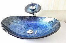 AllureFeng Blaues Boot Glaswaschbecken / ware Waschbecken / künstlerische Becken / Aufsatzbecken (545 * 370 * 155 * 12 mm)