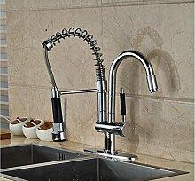 AllureFeng Chrom poliert Einhebel Küche Spüle Wasserhahn Doppel Auslauf Mischbatterie mit Abdeckplatte