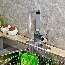 AllureFeng Fertige Küche Spüle Wasserhahn Einhand schwenkbaren Auslauf Mischbatterie mit Abdeckplatte Chrom