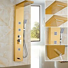 AllureFeng Golden Shower Panel Edelstahl Regen Wasserfall Set Massage System Brausebatterie mit Jets Wall Mount Tower Duschsäule