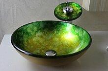 AllureFeng Runde grüne Weinglas Töpfe / Badezimmer Sets / Aufsatzbecken Wasserhahn (420 * 140 * 12 mm)