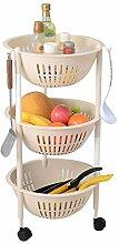 Allzweckwagen Kunststoff-Küchenregal mit Rädern,