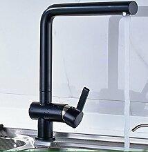 Almi aus schwarzem Granit, Quarz Stein Hahn Waschbecken, warme und kalte Küche Wasserhahn
