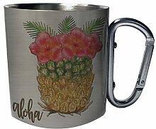 Aloha Hawaii Ananas Sommer USA Edelstahl Karabiner