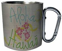 Aloha hawaii Edelstahl Karabiner Reisebecher 11oz