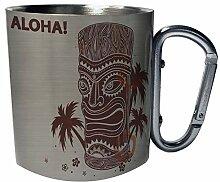 Aloha Hawaii Tiki Totem Palmen Edelstahl Karabiner