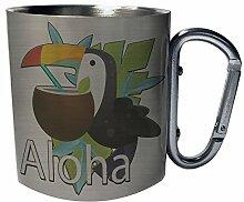 Aloha-Hintergrund mit Tukan-Kokosnuss Edelstahl