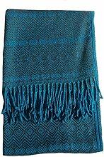 Alpacaandmore Alpakawolle Decke 170 x 130 cm Wolldecke Kuscheldecke verschiedene Farben (Blau)