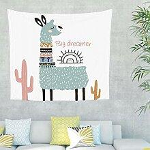 Alpaka Kaktus Wandteppich mit Spruch Wandbehang