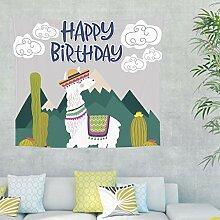 Alpaka Kaktus Wandteppich Wandbehang mit Spruch