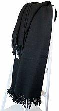 Alpaka Schwarze Wolldecke mit 55% Anteil, 150x200cm mit Fransen, Decke, Sofadecke, Kuscheldecke, Wohndecke, Überwurf