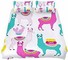 Alpaka-Weißes Llama-3-teiliges Bettwäsche-Set
