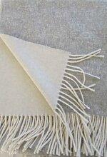 Alpenwolle Kaschmir Plaid doppelseitig Silber/weißin dem Geschenk Karton, Wolldecke 135x185 cm