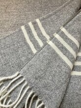 Alpenwolle Kaschmirplaid grau meliert, Wolldecke, Sofaüberwurf, Tagesdecke 140x190 cm