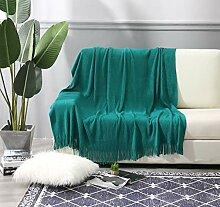 ALPHA HOME Überwurf Decke mit Fransen für Couch