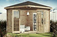 Alpholz Modernes 5-Eck Holz Gartenhaus VICTOR mit Boden 300 x 300cm ohne Imprägnierung