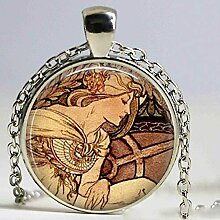 Alphonse Mucha Halskette Glaskette Jugendstil Glas