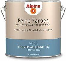 Alpina 2,5 L. Feine Farben, Farbwahl, Edelmatte Wandfarbe für Innen (No.13 Stolzer Wellenreiter - Tiefes Azurblau)