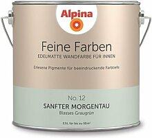 Alpina 2,5 L. Feine Farben, Farbwahl, Edelmatte Wandfarbe für Innen (No.12 Sanfter Morgentau - Blasses Graugrün)