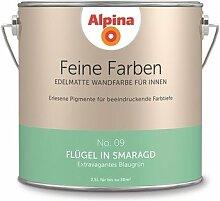 Alpina 2,5 L. Feine Farben, Farbwahl, Edelmatte Wandfarbe für Innen (No.9 Flügel in Smaragd - Extravagantes Blaugrün)