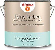 Alpina 2,5 L. Feine Farben, Farbwahl, Edelmatte Wandfarbe für Innen (No.15 Licht der Gletscher - Pures Wasserblau )