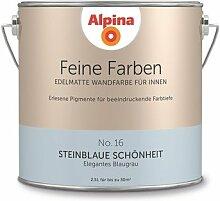 Alpina 2,5 L. Feine Farben, Farbwahl, Edelmatte Wandfarbe für Innen (No.16 Steinblaue Schönheit - Elegantes Blaugrau)